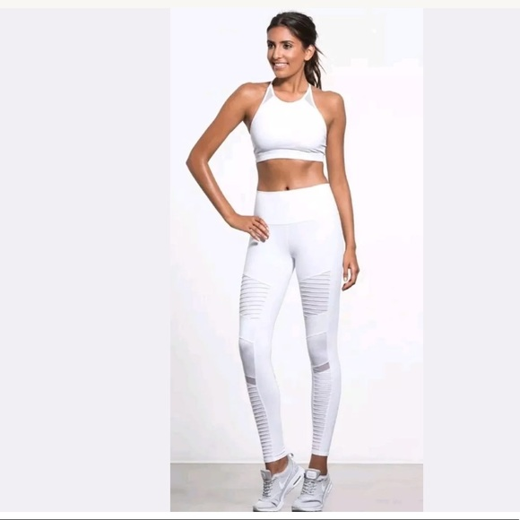 ALO Yoga Pants - ALO YOGA White Gloss High Waist Moto Leggings f3fe3c2cc1db